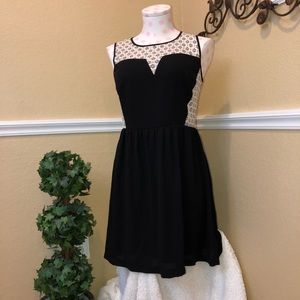 Monteau Black And Cream Lace Top Dress